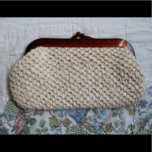 Vintage synthetic straw clutch